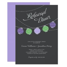 Whimsical wedding dinner invitation honoring the bridesmaids features a night sky with vibrant hanging paper lanterns. Charcoal black background with light gray, warm beige / linen peach, and blush pink colors. Rehearsal Dinner Invitations, Wedding Rehearsal, Wedding Invitation Sets, Rehearsal Dinners, Wedding Stationery, Wedding Dinner, Summer Wedding, Bali Wedding, Wedding Rsvp