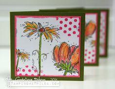 Cards by Godelieve Tijskens using Darkroom Door Fine Flowers Rubber Stamps and Dots Texture Stamp.