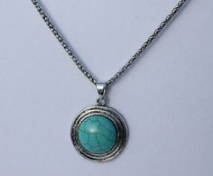 """Large Round Tibetan Turquoise Pendant Necklace Set on Circular Silver Plated Design, 18"""" chain with lobster clasp & extender"""