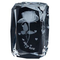 Philosophers 3d Laser Crystal Gift 24 Small Facets Subsurface Engraved Blooming Rose Custom Names and Blessings Acceptable White ** Be sure to check out this awesome product.