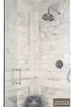 Stunning use of trims on this Carrara Venato Shower. This is the whitest based Carrara in the World. Installed in a multi-million dollar home and only $7.00 a Square Foot for the Subway Tile (for 2017 and 2018 - maybe longer but have to put on a date).