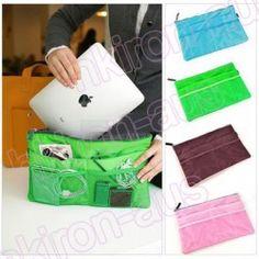 Handbag Purse Insert Organizer Mp3 Phone i Pad Cosmetic Storage Slim Bag in Bag