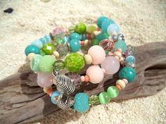 Boho chic bracelet Memory wire wrap Beach jewelry by ArilelJewelry