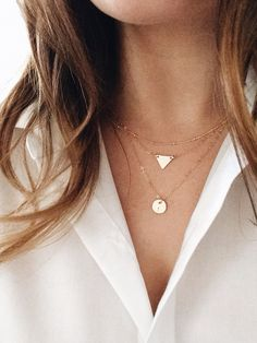 Layering Necklaces Set of 3 - Sterling Silver or 14k Gold Fill, Petite Disc, Petite Triangle, Satellite Chain, Minimalist Geometric Jewelry on Etsy, $75.00