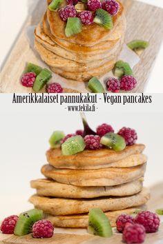 Amerikkalaiset pannukakut, vegan pancakes #eggfree #milkfree Resepti blogissa, recipe on blog