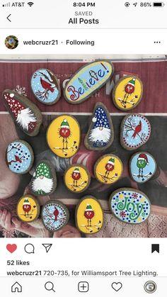 Diy Christmas Art, Christmas Rock, Christmas Ornaments, Pebble Painting, Pebble Art, Stone Painting, Stone Crafts, Rock Crafts, Arts And Crafts
