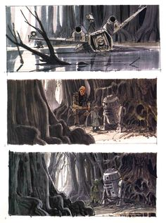 "TESB: Ralph McQuarrie sketches showing Luke's arrival (euphemism for ""crash landing"") on Dagobah.  In the top sketch, Luke's X-Wing is half-submerged in a Dagobah swamp.  In the middle picture, Luke and Artoo encounter a strange creature who (amazingly) speaks a form of broken English.  Bottom photo shows Yoda interacting with R2-D2."