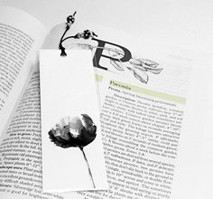 Black And White Peony Bookmark Watercolor Bookmark by wrensroost