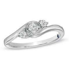 I've tagged a product on Zales: Cherished Promise Collection™ 1/4 CT. T.W. Diamond Three Stone Promise Ring in 10K White Gold