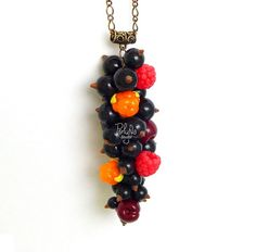Romantic Charm berry pendant - Food Fruit jewelry - Fruit pendant - Girlfriend gift for her - eco rustic wedding - Floral jewelry