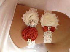 Fall - Burnt Orange Wedding Garter Set - Brick and Ivory Garter Set Rhinestone Detail... Autumn Fall Wedding garter set in Pumpkin..., $23.95
