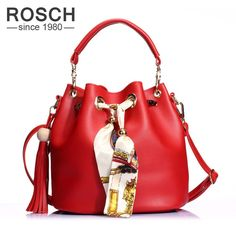 Aliexpress.com   Buy ROSCH Ladies Red Bucket Bags 2017 Luxury Brand Women  Fringe Crossbody Shoulder Bag Female Composite Shoulder Handbags with Scarf  from ... 7a9d12151cc8e