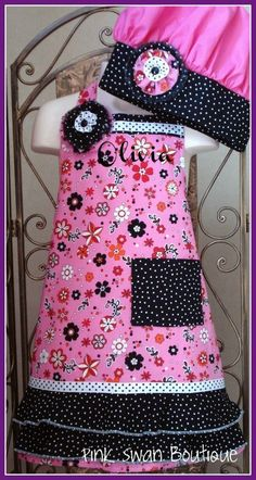 Girls Personalized Pink Apron Chef Hat Black by PinkSwanBoutique, $39.00