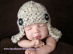 Knitted Aviator Hat in Oatmeal  More Colors by SkyeKnitsforBabies, $19.00