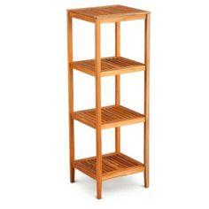 Teak Tower Stand Shelf Unit