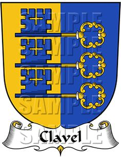 Clavel Family Crest apparel, Clavel Coat of Arms gifts