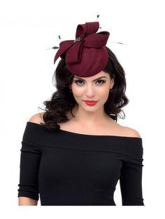 11053e4bd4bb0 Burgundy Felt Bow   Gem Feathered Cocktail Hat 1950s Hats
