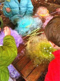 detergent, water and food colouring. Bow bubbles with a straw. Place paper on top to make a beautiful piece of art.