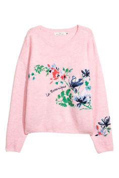 Knit Sweater with Embroidery - Light pink/flowers - Ladies   H&M CA 2