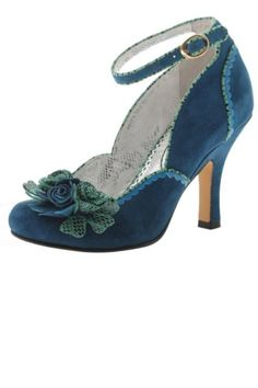 """Outstanding shoe in deep teal. Girlie goodness meets UK godess. We'll get back at you when we're good nready. Heel height 3.62""""   Teal Rose Shoe by Amy's Allie . Shoes - Pumps & Heels - High Heel Ohio"""
