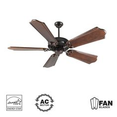 """Craftmade K10838 American Tradition 56"""" 5 Blade Energy Star Indoor Ceiling Fan - Oiled Bronze Fans Ceiling Fans Indoor Ceiling Fans"""