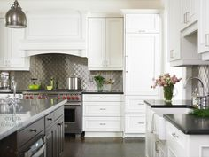 Gorgeous Two Tone Kitchen With White Kitchen Cabinets With Honed Black  Granite Countertops, Espresso Kitchen Island With Marble Countertop,  Farmhouse Sink ...