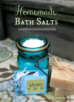 Homemade Bath Salts 1/2 cup Epsom Salts 1/2 cup Dead Sea Salts  2 tsp Baking soda 8-10 drops Frankincense essential oil  8-10 drops Lavender essential oil