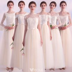 Affordable Champagne Bridesmaid Dresses 2019 A-Line / Princess Sash Appliques Lace Floor-Length / Long Ruffle Backless Wedding Party Dresses Champagne Bridesmaid Dresses, Wedding Bridesmaids, Wedding Party Dresses, Wedding Dress Styles, Elegant Dresses, Nice Dresses, Backless Wedding, Vintage Wedding Colors, Classic Wedding Dress