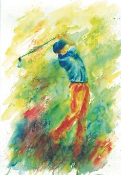 Golf Tips Downswing Golf Painting, Sports Painting, Watercolor Cards, Watercolor Paintings, Watercolours, Golf Crafts, Golf Art, Golf Humor, Golf Tips