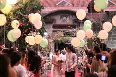 After the ceremony. Balloons and loose petals