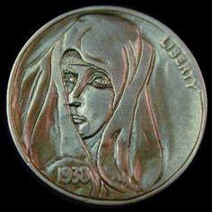 MIKE CIRELLI HOBO NICKEL - 1938 BUFFALO NICKEL Hobo Nickel, Coin Art, Coins, Carving, Buffalo, Cactus, Portraits, Profile, Female