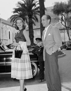 Lauren Bacall & Humphrey Bogart - After starring in her first movie, To Have and Have Not alongside Humphrey Bogart in 1944, the two legendary actors wed the following year. The pair remained married until Bogart's death in 1957.
