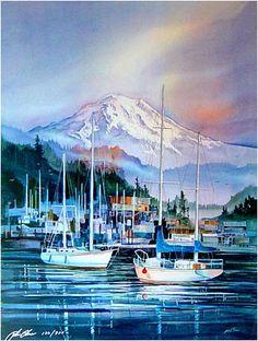 """John Ebner - Prints, """"Tranquil Harbor"""""""