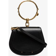 Chloé Black Nile Mini Leather Bracelet Bag (6.240 RON) ❤ liked on Polyvore featuring bags, handbags, shoulder bags, top handle handbags, shoulder bag handbag, handle bag, scalloped purses and top handle bags