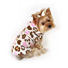 SimplyDog Fleece Dog Jacket, Multi-Colored Leopard Print