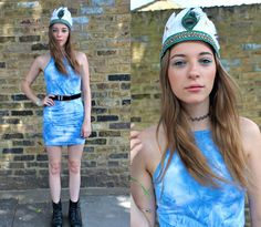 Sabrina Carder - Boohoo Dress, Happy Aquarius Headpiece, Dr Martens Boots - Wireless Festival Day 2