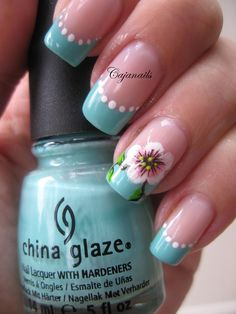 Nail art: One stroke flower on turquoise French by Cajanails. To see the video click here-->http://youtu.be/fLBM1MbVYac