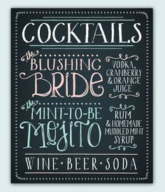 "Signature drinks chalkboard - ""Blushing Bride"" and ""Mint-To-Be Mojito"" Wedding Store, Our Wedding, Dream Wedding, Wedding Ideas, Sage Wedding, Wedding Menu, Wedding Bells, Perfect Wedding, Wedding Inspiration"