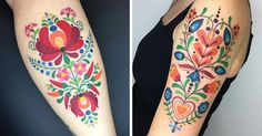 These folk art tattoos are eerily reminiscent of some vintage fabric that might be lingering around your grandmother's house.