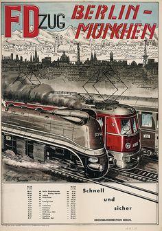 Berlin-Muechen im FD-Zug Werbung 1949