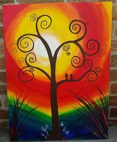 Acrylic on canvas Love Birds by AshleyArtsGallery on Etsy