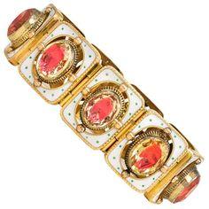 19th Century Gold, Enamel and Foiled Citrine Bracelet   1stdibs.com