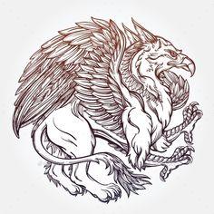 Griffin Beast Illustration. by itskatjas Hand drawn vintage Griffin, mythological magic winged beast. Victorian motif, tattoo design element. Heraldry and logo concept art
