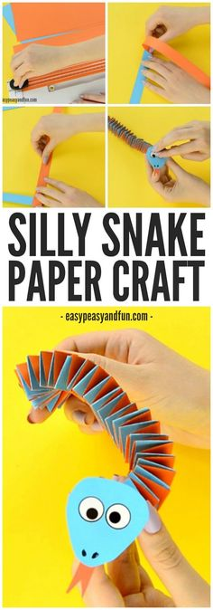 snake art projects for kids - Accordion Paper Snake Craft Paper Crafts For Kids, Crafts For Kids To Make, New Crafts, Summer Crafts, Projects For Kids, Easy Crafts, Craft Projects, Arts And Crafts, Animal Crafts Kids