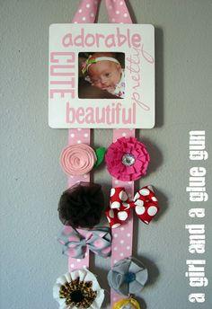 cricut love--hair bow holder - A girl and a glue gun