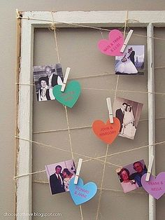 Display family wedding photos (names on conversation hearts)