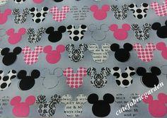 Cotton Fabric - 1Yard Mickey Mouse Fabric - Cartoon Fabric - Animals - Cute Kids Fabric - Gray( W140cm on Etsy, $13.00