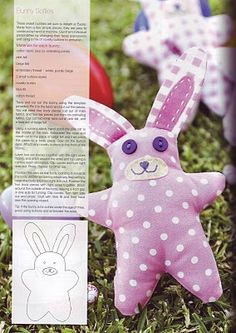 Cute little stuffed rabbit with free pattern.