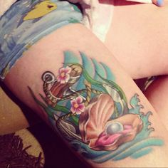 Awesome Under the sea themed tattoo! Anchor, oyster and pearl! So cute!!