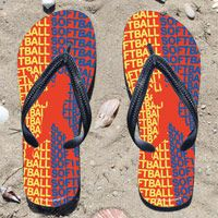 All Softball on Orange Flip Flops - Kick back after a softball game with these great flip flops! Fun and functional flip flops for all softball players and fans.